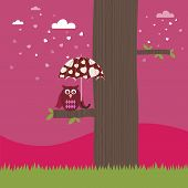 pink landscape background with owl and love heart umbrella poster