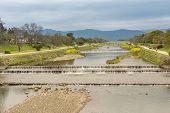 Scenery of Kamo River in Kyoto, Japan, Asia. poster