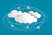 Abstract background with planes and clouds infographic poster