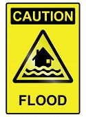 Flood hazard warning information sign isolated on white background poster