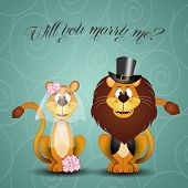 illustration of Lion proposes marriage to lioness poster