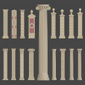 pillar column antique ancient old roman greek architecture vector set poster