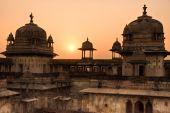 Palace in Orcha at sunset Madhya Pradesh India. poster