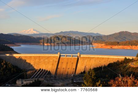 Shasta Lake Dam at Sunset - Northern California