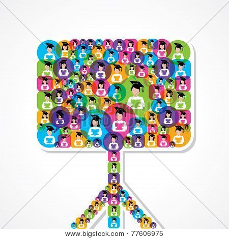 Group of male and female icons make a blackboard stock vector