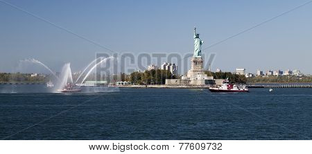 New York City Fire Department Boat And Statue Of Liberty