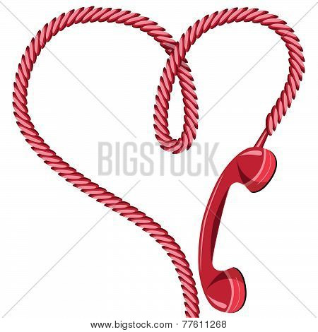 Phone Reciever And Cord As Heart.