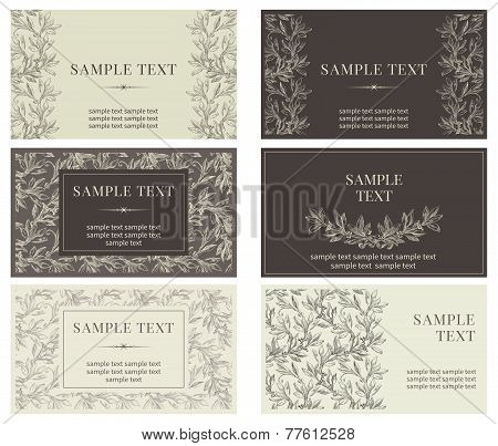 Set of six business cards with nature motif
