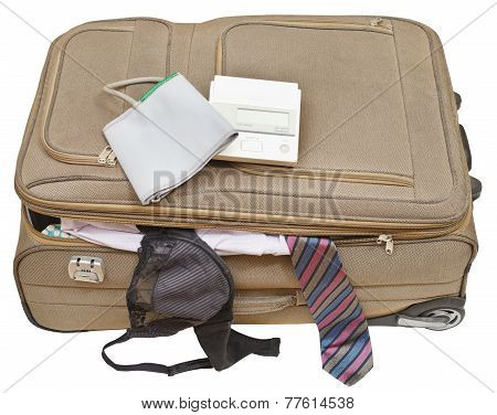 Sphygmometer On Suitcase With Tie And Bra