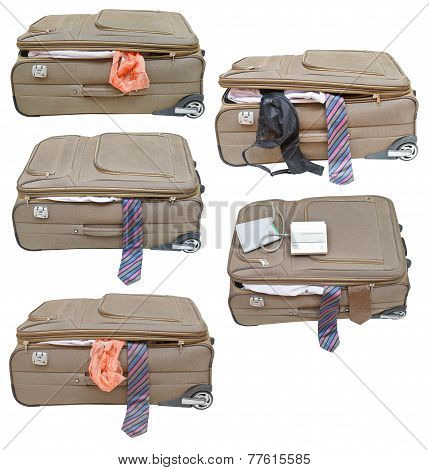 Set Of Suitcases With Female And Male Clothes
