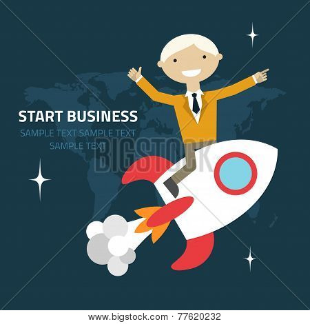 Flat Design Vector Illustration Of A Businessman Sitting On A Rocket Pointing And Showing Directions