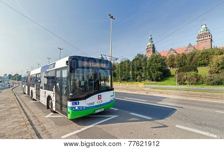 Public Bus In Front Of Chrobry Embankment.
