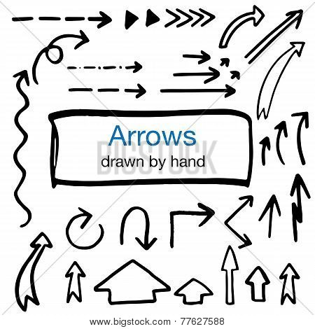 set of hand drawn isolated arrows