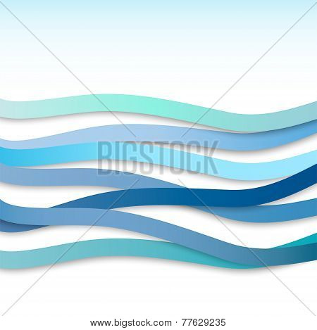 Abstract Background With Blue Wavy Stripes. Vector Illustration