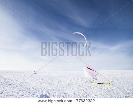 Kiteboarding on snow