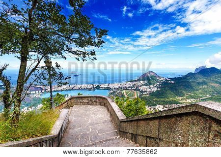 View Into Rio De Janeiro From The Steps At Christ The Redeemer Statue