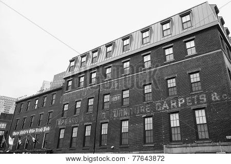 Old Boston Buildings in Black and white.