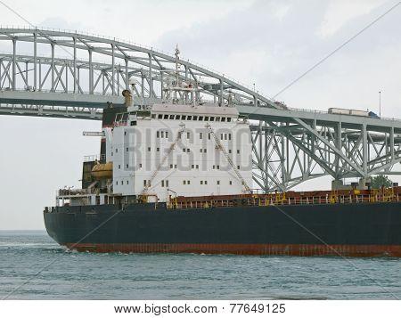 Freighter Leaving Lake Huron