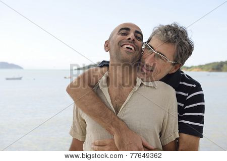 Middle aged couple gay couple on vacation