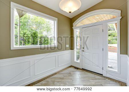 White And Olive Tones Entrance Hallway