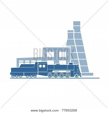 Steam Locomotive At Industrial Plant