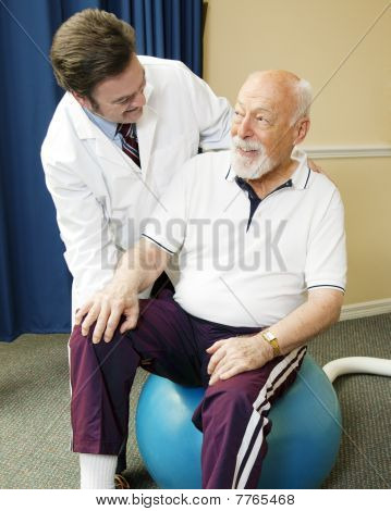 Senior Man Getting Physical Therapy