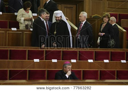 KIEV, UKRAINE - November 27, 2014: Alexander Turchinov opening session of the Verkhovna Rada