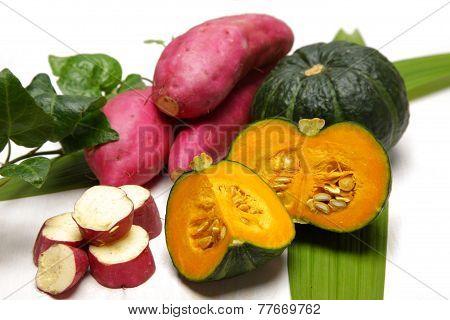 green pumpkins and sweet potatoes
