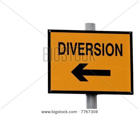 Yellow And Black Diversion Sign Isolated On White