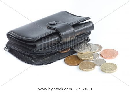 A Black Purse Holding Uk Sterling Coins