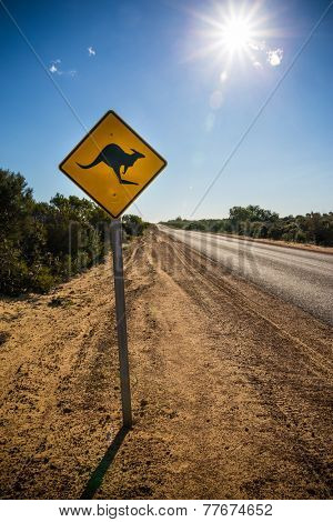 Kangaroo warning signal in a hot summer day, australian outback