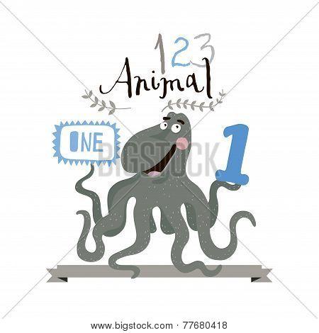 Children alphabet of animals and figures. One figure. Vector illustration.