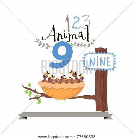 Children alphabet of animals and figures. Number nine. Vector illustration.