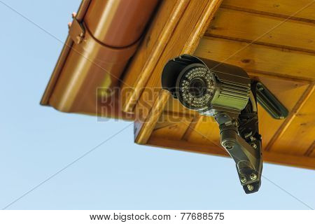 Cctv Security Camera Under The Roof