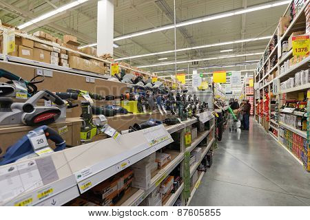 Moscow, Russia - March 03, 2015. Instruments In Leroy Merlin Store. Leroy Merlin Is A French Home-im