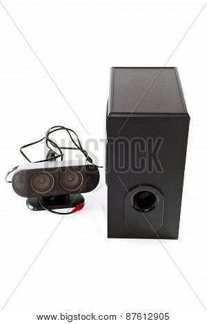 Black Loudspeaker with Cable and Subwoofer