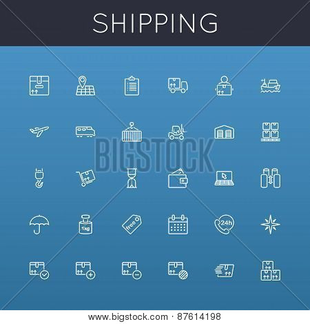 Vector Shipping Line Icons