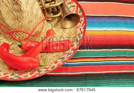 fiesta mexican poncho rug in bright colors with sombrero background with copy space