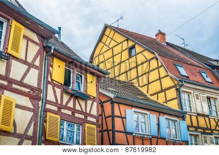 colorful half timbered houses in alsace