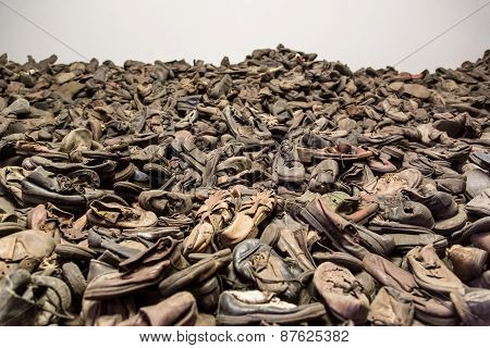 Boots Of Victims In Auschwitz
