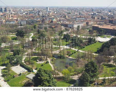 Aerial view of Parco Sempione park in the city of Milan in Italy poster