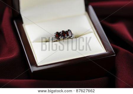 Garnet Ring Rich Red Velvet Background