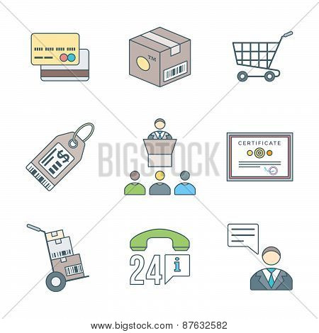 Various Colored Outline Business Distribution Marketing Process Icons Set.