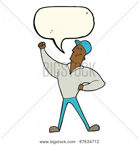 cartoon man striking heroic pose with speech bubble poster
