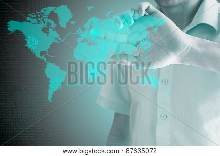 businessman disseminates new technologies on the world map.