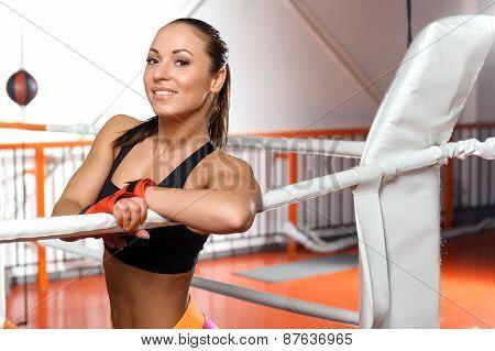 Sportswoman in a boxing ring