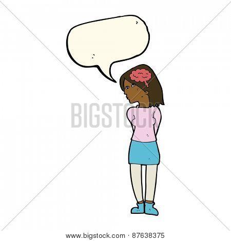 cartoon brainy woman with speech bubble