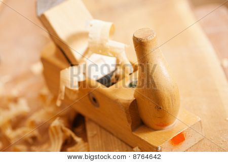 Planer in work shop of carpenter
