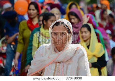 Devotee Sikh Woman Marching