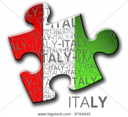 Piece of puzzle with the italian flag.